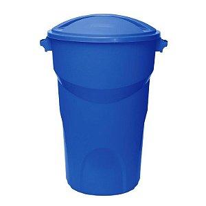 Lixeira Redonda com tampa 150 Litros Azul ref 454 Paramount Plasticos