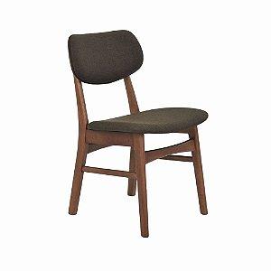 Cadeira Erica c/ Encosto Estofado Linho Marrom