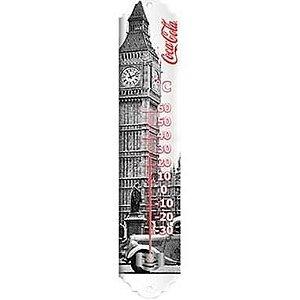Termometro Metal Coca Cola Landscape London Preto e Branco (26651)