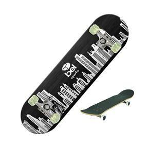 Skateboard Semi-Pro Rodas PU Prédios Branco