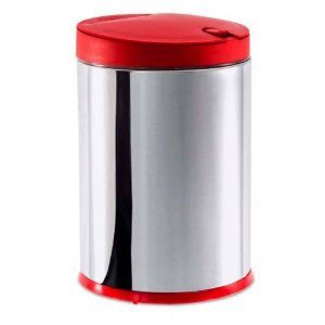Lixeira Press Inox c/TP PP Vermelha 4LTS 3050/212