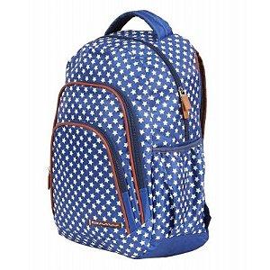 Mochila Escolar Dmw Girls 48963 Estrelas Azul e Branca