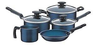 Jogo de panelas 5 peças antiaderente Bergamo Azul Tramontina
