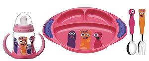 Kit Utensílios infantil Monsterbaby 4 peças  Rosa - 23799/498