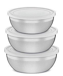 Jogo de potes aço inox com tampa plástica 3 pç. - 64220/210