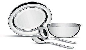Kit para Servir arroz e feijão 4 pç. inox - 64700/100