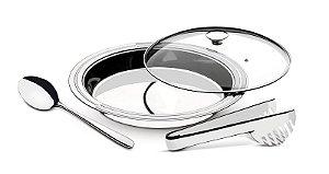 Kit para servir Ciclo aço inox com tampa de vidro 3 pç. - 64510/264
