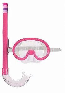 Máscara de Mergulho e Snorkel Infantil - Rosa