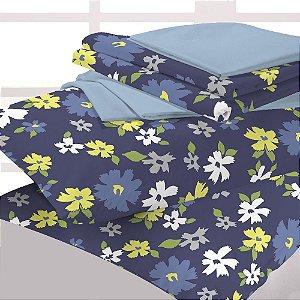 Jogo Cama Microfibra Duplo 4 Pcs -  Queen - Azul com Flores Branca e Verde