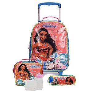 Kit Escolar Mochilete + Lancheira + Estojo Moana Disney