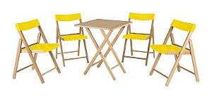Conjunto Potenza 1 Mesa + 4 Cadeiras Amarela 10630064 Tramontina
