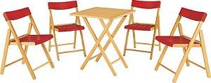 Conjunto 1 Mesa e 4 Cadeiras Verniz com Vermelho Potenza Tramontina 10630032
