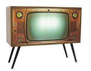 Armário Horizontal Retrô Nogal com 1 Porta Estampa Televisão (0308-0766)