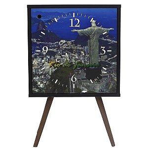 Armário Retrô Clock Preto com 1 Porta Estampa Rio de Janeiro e Pés Palito (0309-0769)