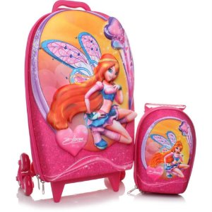 Mochila de Rodinhas Mochilete 3D Escolar  + Mochila P Nickelodeon Bruxinhas Winx Bloom Rosa