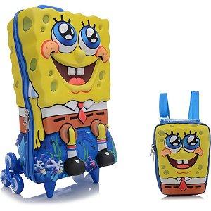 Mochila de Rodinha Mochilete 3D Escolar + Lancheira Nickelodeon Bob Esponja Coral