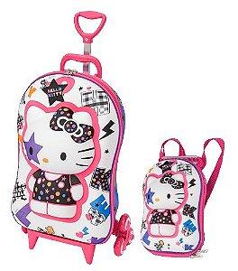 Mochila de Rodinhas Mochilete 3D Escolar + Mochila P Sanrio Hello Kitty Star Roxa