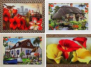 Quadro Decorativo Paisagem e Floral Com Moldura 1,03 x 0,74 x 0,4