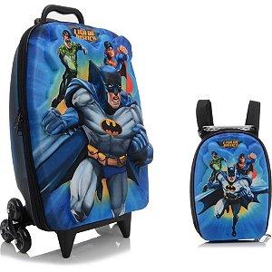 Mochila Escolar de Rodinha 3D Liga da Justiça Batman + Lancheira