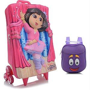 Mochila de Rodinha Mochilete 3D Escolar + Lancheira Nickelodeon Dora Bailarina
