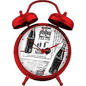 Relógio de Mesa Coca-Cola Newspaper Branco e Preto (25092)