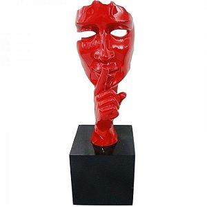 Escultura em Resina Arts in the Face Silence Vermelho (26239)