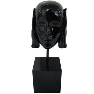 Escultura em Resina Arts in the Face Deaf Preto (26260)