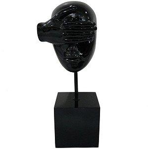 Escultura em Resina Arts in the Face Blind Preto (26263)