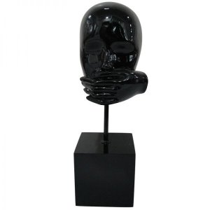 Escultura em Resina Arts in the Face Mute Preto (26266)