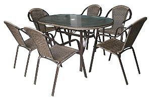 Conjunto de Mesa com 06 Cadeiras em Alumínio Kalahari