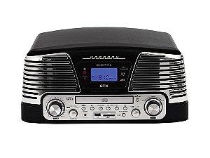 Vitrola Retrô Harmony Preto com Sistema Hi-Fi Entrada USB, SD, CD Player, Toca-Discos Reproduz e Grava