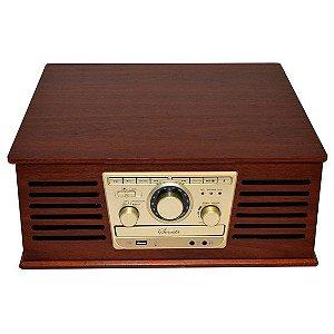 Vitrola Retrô Sonata com Sistema Hi-Fi Entrada USB, CD Player, Toca-Discos e Rádio AM/FM Reproduz e Grava