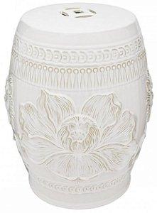 Banqueta Seat Garden em Cerâmica Lotus Branco