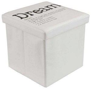 Puff em MDF e Tecido Estampado Linen Dream