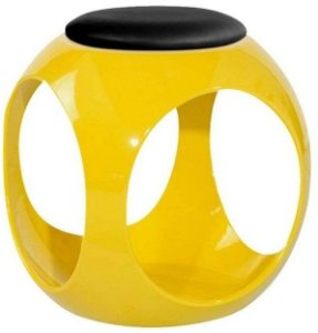 Puff com Estrutura em ABS Kaas Estofado Amarelo