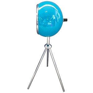 Luminaria Metal Mesa Tripe BeBop Azul Brilhante