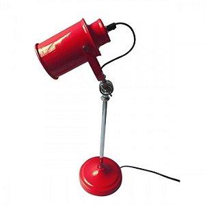 Luminaria Metal Mesa Factory Style Vermelha Brilahante