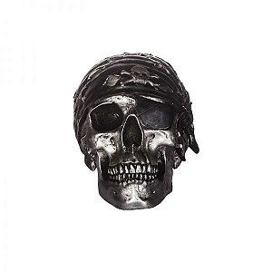 Cofre Resina Pirata Skull Prata (24220)