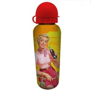 Squeeze de Alumínio Coca-Cola Pin Up With Bike Amarelo 500ml (25941)