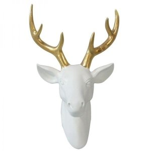 Escultura Parede Ceramica Deers Head Gold Horns