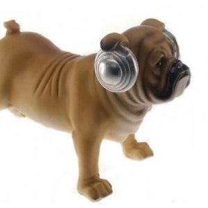 Cachorro Resina Bege Fone Prata