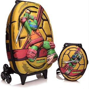 Mochila de Rodinha Mochilete 3D Escolar + Lancheira Nickelodeon Tartaruga Ninja