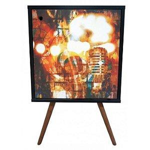 Armário 1 Porta Preto Estampa Música Pés Palito (0119-0893)