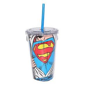 Copo Plastico Com Tampa e Canudo DC Comics Superman Opening 300ml (25480)