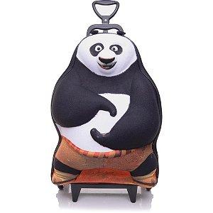 Mochila Escolar de Rodinhas 3D Kung Fu Panda + Lancheira