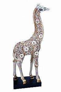 Estatueta Decorativa de Resina Girafa na Base (ES918F)