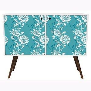 Armário Horizontal com 2 Portas Estampa Floral Branco  (0118-0673B)
