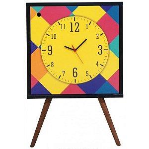 Armário Clock com 1 Porta Relogio Amarelo Estampa Losangos  (0309-0779)