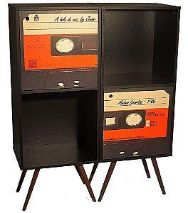 Armário Vertical com 1 Porta 2 Módulos Estampa Fita Cassete