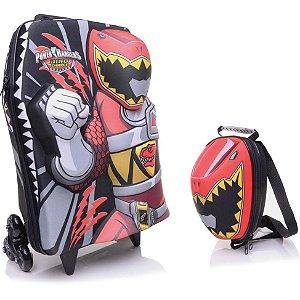 Mochila de Rodinhas Mochilete 3D Escolar + Lancheira Cartoon Network Power Rangers Vermelho